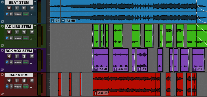 Image of a Hip Hop Track with 4 Audio Stems