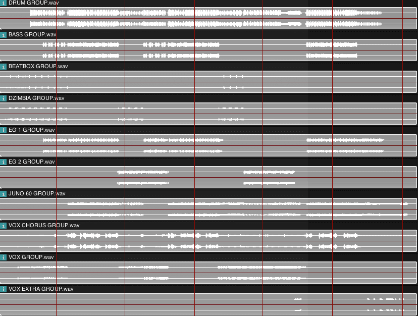 10 stems ready for mastering