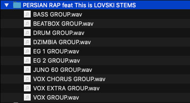 Image of audio groups delivered for mastering