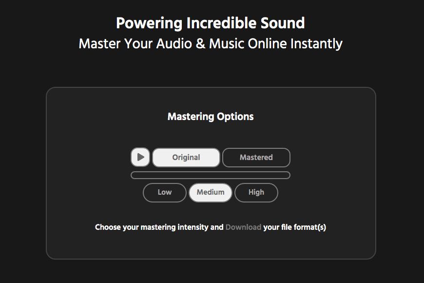 Major Decibel Mastering Intensity Options