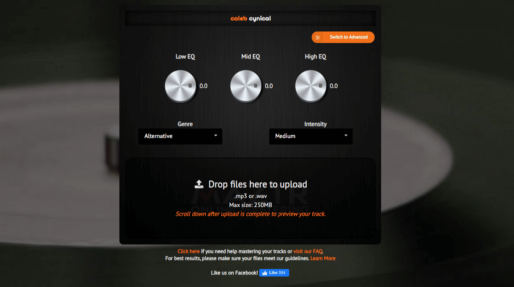 Maztr Online Mastering Customisation Options